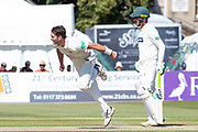 Chadd Sayers bowling during the Specsavers County Champ Div 2 match between Gloucestershire County Cricket Club and Leicestershire County Cricket Club at the Cheltenham College Ground, Cheltenham, United Kingdom on 15 July 2019.