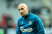 Jonjo Shelvey (#8) of Newcastle United warms up ahead of the Premier League match between Newcastle United and Everton at St. James's Park, Newcastle, England on 9 March 2019.