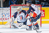 KELOWNA, CANADA - NOVEMBER 30:  Taran Kozun #41 of the Kamloops Blazers defends the net against the Kelowna Rockets on November 30, 2013 at Prospera Place in Kelowna, British Columbia, Canada.   (Photo by Marissa Baecker/Shoot the Breeze)  ***  Local Caption  ***