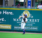 July 19, 2017 Sugarland, Texas: Sugarland Skeeters Joe Benson(4) Makes a throw after a Flyout in right field in a 3-1 lost to the Lancaster Barnstormers. (Photo By: Jerome Hicks/ Space City Images)