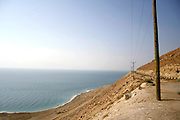 view of the dead sea from the desert road