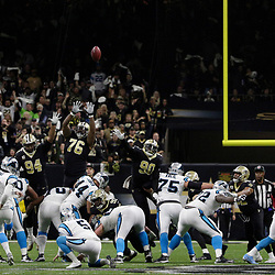 Jan 7, 2018; New Orleans, LA, USA; Carolina Panthers kicker Graham Gano (9) kicks a 58-yard filed goal against the New Orleans Saints during the second quarter in the NFC Wild Card playoff football game at Mercedes-Benz Superdome. Mandatory Credit: Derick E. Hingle-USA TODAY Sports