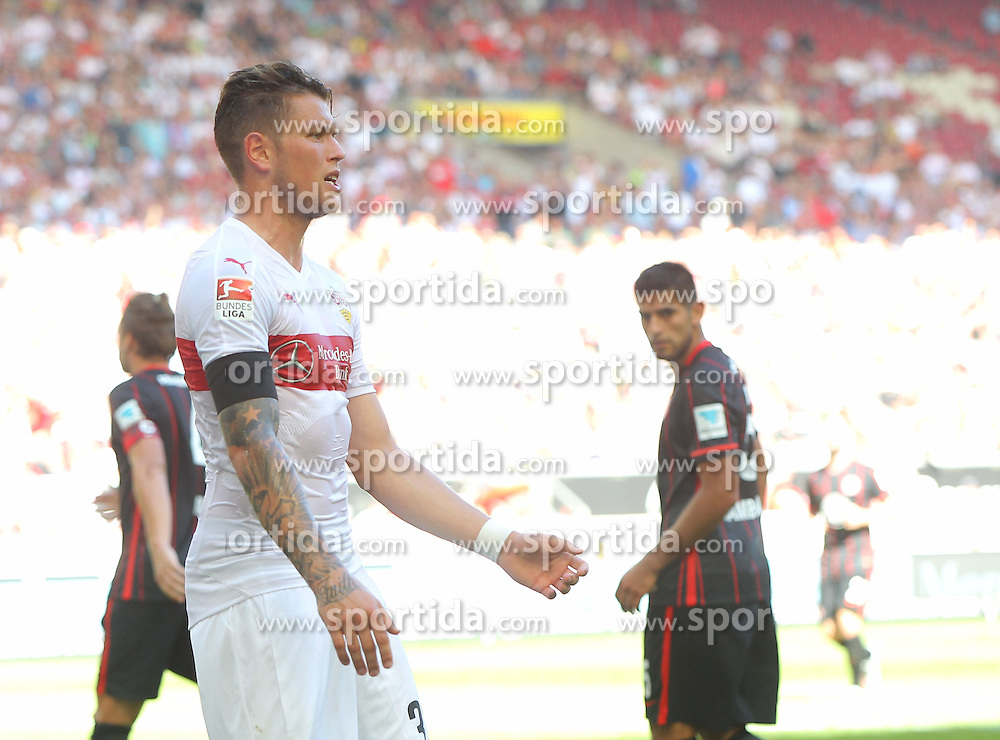 29.08.2015, Mercedes Benz Arena, Stuttgart, GER, 1. FBL, VfB Stuttgart vs Eintracht Frankfurt, 3. Runde, im Bild Daniel Ginczek ( VfB Stuttgart ) // during the German Bundesliga 3rd round match between VfB Stuttgart and Eintracht Frankfurt at the Mercedes Benz Arena in Stuttgart, Germany on 2015/08/29. EXPA Pictures &copy; 2015, PhotoCredit: EXPA/ Eibner-Pressefoto/ Langer<br /> <br /> *****ATTENTION - OUT of GER*****
