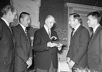 Apollo XIII Astronauts at Aras an Uachtarain meeting President Eamon DeValera,(L-R) Command Module Pilot John L Swigert, Commander James A Lovell and Lunar Module Pilot Fred W Haise,13/10/1970 (Part of the Independent Newspapers Ireland/NLI Collection).
