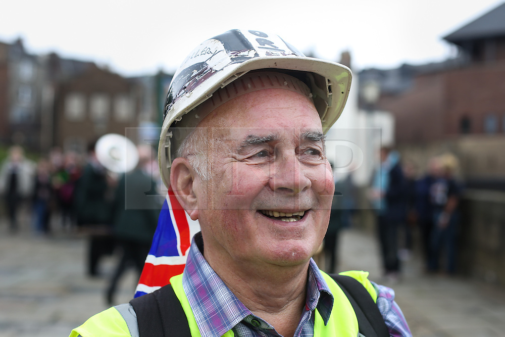 © Licensed to London News Pictures. 09/07/2016. Durham, UK. Former miner Alec Mason at the Durham Miners' Gala in County Durham, UK. The gala is a large gathering held annually associated with the coal mining heritage and trade unionism. Photo credit : Ian Hinchliffe/LNP