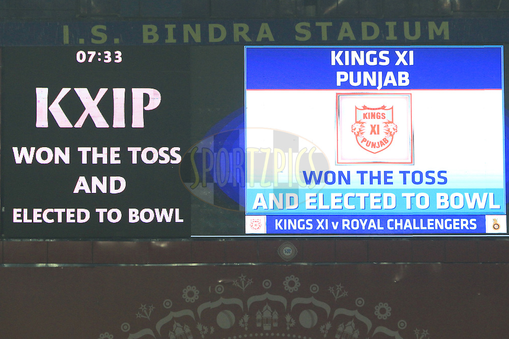 Electronic screen during match 39 of the Vivo Indian Premier League ( IPL ) 2016 between the Kings XI Punjab and the Royal Challengers Bangalore held at the IS Bindra Stadium, Mohali, India on the 9th May 2016<br /> <br /> Photo by Arjun Singh / IPL/ SPORTZPICS