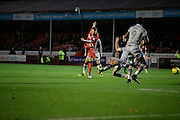 James Collins takes shot at goal in the second half during the EFL Sky Bet League 2 match between Crawley Town and Grimsby Town FC at the Checkatrade.com Stadium, Crawley, England on 26 November 2016. Photo by Jarrod Moore.