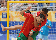 Football-FIFA Beach Soccer World Cup 2006 - Semi-final -BRA_POR -Madjer receives a hugh from his team-mate Belchior-POR- after scores a goal - Rio de Janeiro - Brazil 11/11/2006<br />Mandatory credit: FIFA/ Marco Antonio Rezende.