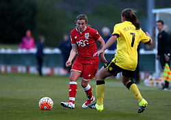 Jodie Brett of Bristol City Women passes the ball past Sarah Mayling of Aston Villa Ladies - Mandatory by-line: Robbie Stephenson/JMP - 02/01/2012 - FOOTBALL - Stoke Gifford Stadium - Bristol, England - Bristol City Women v Aston Villa Ladies - FA Women's Super League 2