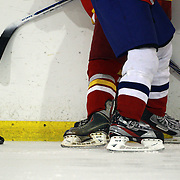 Players challenge for the puck during the China V Iceland match during the 2012 IIHF Ice Hockey World Championships Division 3 held at Dunedin Ice Stadium. Dunedin, Otago, New Zealand. 22nd January 2012. Photo Tim Clayton