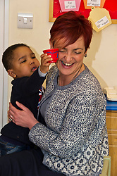 Pictured: Angela Constance, Communities Secretary found it hard to resist the refreshments on offer today<br /> Today Communities Secretary  Angela Constance visited Dr Bells family centre, where she met staff and volunteers ahead of the first Tackling Child Poverty Delivery Plan being published.<br /> <br /> <br /> Ger Harley | EEm 29 March 2018