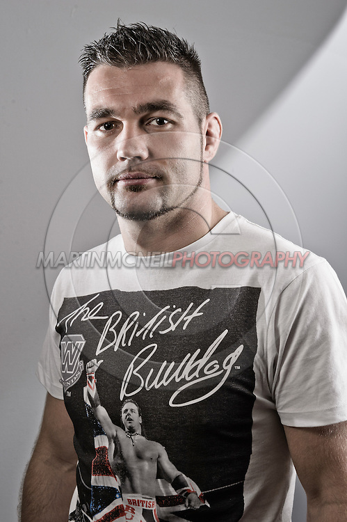 """NOTTINGHAM, ENGLAND, SEPTEMBER 27, 2012: A portrait of John Maguire as taken at the pre-fight press conference ahead of """"UFC on Fuel TV: Struve vs. Miocic"""" inside the Hilton Hotel in Nottingham , United Kingdom on Thursday, Septermber 27, 2012 © Martin McNeil"""