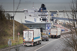 © Licensed to London News Pictures. 07/01/2019. Dover, UK. Trucks approach Dover as a no-deal Brexit planning exercise takes place. 89 lorries are testing traffic conditions on the 20 mile route between Manston and the Port of Dover. Photo credit: Peter Macdiarmid/LNP