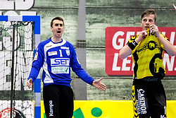27.04.2018, BSFZ Suedstadt, Maria Enzersdorf, AUT, HLA, SG INSIGNIS Handball WESTWIEN vs Bregenz Handball, Viertelfinale, 1. Runde, im Bild Sandro Uvodic (SG INSIGNIS Handball WESTWIEN), Nico Schnabl (Bregenz Handball) // during Handball League Austria, quarterfinal, 1 st round match between SG INSIGNIS Handball WESTWIEN and Bregenz Handball at the BSFZ Suedstadt, Maria Enzersdorf, Austria on 2018/04/27, EXPA Pictures © 2018, PhotoCredit: EXPA/ Sebastian Pucher