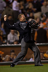 SAN FRANCISCO, CA - SEPTEMBER 09:  MLB umpire Jim Wolf #28 throws a ball to the pitchers mound during the fourth inning between the San Francisco Giants and the Arizona Diamondbacks at AT&T Park on September 9, 2014 in San Francisco, California.  The San Francisco Giants defeated the Arizona Diamondbacks 5-1.  (Photo by Jason O. Watson/Getty Images) *** Local Caption *** Jim Wolf