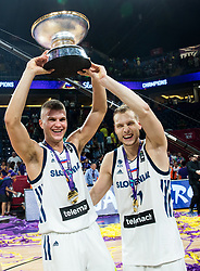 Edo Muric of Slovenia and Jaka Blazic of Slovenia celebrating at Trophy ceremony after winning during the Final basketball match between National Teams  Slovenia and Serbia at Day 18 of the FIBA EuroBasket 2017 when Slovenia became European Champions 2017, at Sinan Erdem Dome in Istanbul, Turkey on September 17, 2017. Photo by Vid Ponikvar / Sportida