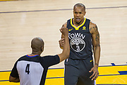 Golden State Warriors forward David West (3) reacts to a foul by the Dallas Mavericks at Oracle Arena in Oakland, California, on February 8, 2018. (Stan Olszewski/Special to S.F. Examiner)