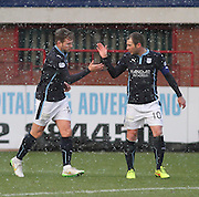 Greg Stewart is congratulated after scoring by Kevin Thomson -  Dundee v Motherwell, SPFL Premiership at Dens Park <br /> <br /> <br />  - &copy; David Young - www.davidyoungphoto.co.uk - email: davidyoungphoto@gmail.com