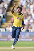 Fidel Edwards Celebrates the wicket of Ashwell Prince during the NatWest T20 Blast Semi Final match between Hampshire County Cricket Club and Lancashire County Cricket Club at Edgbaston, Birmingham, United Kingdom on 29 August 2015. Photo by David Vokes.