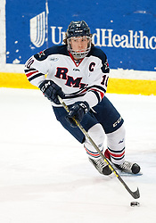 March 12 2016: Robert Morris Colonials defenseman Tyson Wilson (10) skates the puck up ice during the first period in game two of the Atlantic Hockey quarterfinals series between the Bentley Falcons and the Robert Morris Colonials at the 84 Lumber Arena in Neville Island, Pennsylvania (Photo by Justin Berl)