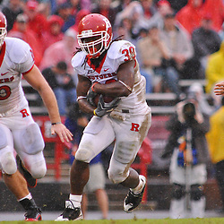 Sep 26, 2009; College Park, MD, USA; Rutgers running back Jourdan Brooks (39) runs the ball during the first half of Rutgers' 34-13 victory over Maryland in NCAA college football at Byrd Stadium.