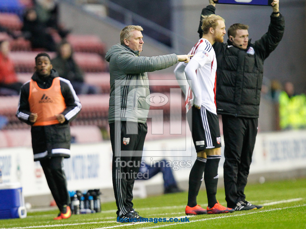 Brentford Head Coach Dean Smith during the Sky Bet Championship match between Wigan Athletic and Brentford at the DW Stadium, Wigan<br /> Picture by Mark D Fuller/Focus Images Ltd +44 7774 216216<br /> 21/01/2017