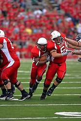 08 September 2007: Erik Madsen clears a hole in the defensive line for Rafael Rice. The Murray State Racers were defeated by the Illinois State Redbirds 43-17 in a nightcap at Hancock Stadium on the campus of Illinois State University in Normal Illinois.