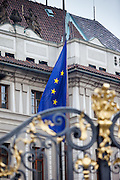 The flag of the European Union in front of Prague Castle in Czech Republic.
