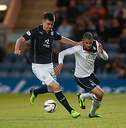 Dundee's Declan Gallagher and Falkirk's Phil Roberts.<br /> Dundee 1 v 1 Falkirk, Scottish Championship game at Dundee's home ground Dens Park.<br /> &copy;Michael Schofield.