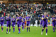 Portsmouth thank the travelling away fans at full time during the EFL Sky Bet League 1 match between Milton Keynes Dons and Portsmouth at Stadium MK, Milton Keynes, England on 29 December 2019.