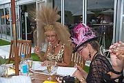 KAREN KNIGHT; HEATHER FENN, Glorious Goodwood. Ladies Day. 28 July 2011. <br /> <br />  , -DO NOT ARCHIVE-© Copyright Photograph by Dafydd Jones. 248 Clapham Rd. London SW9 0PZ. Tel 0207 820 0771. www.dafjones.com.
