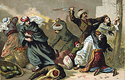 Massacre of Armenians by Ottoman Turks under Abdul Hamid, 1895-1896. Armenian inhabitants of Akhisar, having their throats cut. Religious Conflict Turkey Trade Card  French Chromolithograph