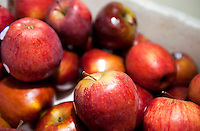Close-up of fresh red apples in supermarket