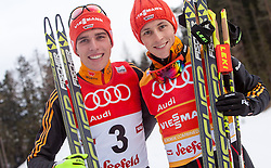 18.01.2014, Casino Arena, Seefeld, AUT, FIS Weltcup Nordische Kombination, Seefeld Triple, Podium, im Bild zweitplatzierter Johannes Rydzek (GER), Sieger Eric Frenzel (GER) // fl. second placed Johannes Rydzek, Winner Eric Frenzel (GER) during Winner Award Ceremony at FIS Nordic Combined World Cup Triple at the Casino Arena in Seefeld, Austria on 2014/01/18. EXPA Pictures © 2014, PhotoCredit: EXPA/ JFK