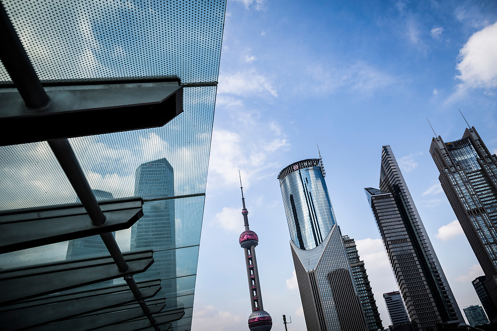 A cityscape of downtown Shanghai, China.
