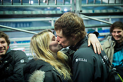 Gilrfriend Anja kissing Blaz Kavcic of Slovenia after he won during the 2nd match of Davis cup Slovenia vs. Portugal on January 31, 2014 in Kranj, Slovenia. Photo by Vid Ponikvar / Sportida