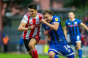 Rochdale Oliver Rathbone and Luke O'Nien during the EFL Sky Bet League 1 match between Rochdale and Sunderland at the Crown Oil Arena, Rochdale, England on 20 August 2019.