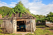 Thatched garage in Vista Alegre, Holguin, Cuba.