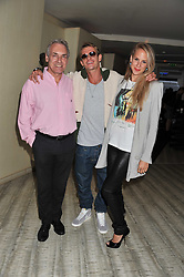 Left to right, JEREMY ZIMMERMAN, LEO GREGORY and HANNAH GREENO at a party to launch PRPS's new luxury denim line called Noir whilst raising money for UNICEF Japan, held at Nobu Berkeley Street, London on 5th September 2011.