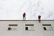 Albanian Police Surprises Hospitalized Children By Dressing As Superheroes<br /> <br /> On June 1st, 2016, for the International Children Day, Albanian Police Force and Special Forces decided to make a surprise to the children who couldn't celebrate this day outside with their friends.<br /> Superheroes flew from the terrace in their windows, bearing gifts and badges with the words: You are our Hero!<br /> ©Ministria  Punëve  Brendshme/Exclusivepix Media