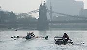 London, Great Britain,  CUBC, Blue Boat, Steve TRAPMORE, Head Coach, follows the crew. Ian MIDDLETON (Cox), Henry HOFFSTOT, Ben RUBLE, Matthew JACKSON, William WARR, Alexander LEICHTER, Joshua HOOPER, Luke JUCKETT, Jasper HOST (Bow) BNY Mellon, University Men's Boat Race Tideway Week, Putney to Mortlake. ENGLAND. <br /> <br /> Thursday 09/04/2015<br /> <br /> [Mandatory Credit;Intersport-images] .   Empacher.