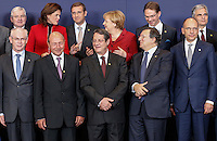 (From L-R 1st row) European Council President Herman Van Rompuy, Romanian President Traian Basescu, Cyprus President Nicos Anastasiades, European Commission President Jose Manuel Barroso, Italian Prime Minister Enrico Letta, (2nd row) Czech Prime Minister Jiri Rusnok, Slovenian Prime Minister Alenka Bratusek, Portuguese Prime Minister Pedro Passos Coelho , Finnish Prime Minister Jyrki Katainen and Austrian Chancellor Werner Faymann pose for a family photo during an European Union summit in Brussels, Belgium, 24 October 2013.