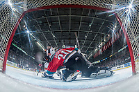 KELOWNA, CANADA - NOVEMBER 25: Roman Basran #30 of the Kelowna Rockets makes a save on a shot by Ryan Chyzowski #29  of the Medicine Hat Tigers on November 25, 2017 at Prospera Place in Kelowna, British Columbia, Canada.  (Photo by Marissa Baecker/Shoot the Breeze)  *** Local Caption ***