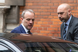 © Licensed to London News Pictures. 16/09/2019. London, UK. Foreign Secretary Dominic Raab leaves Four Millbank . Later today Prime Minister Boris Johnson will visit Brussels. Photo credit: George Cracknell Wright/LNP