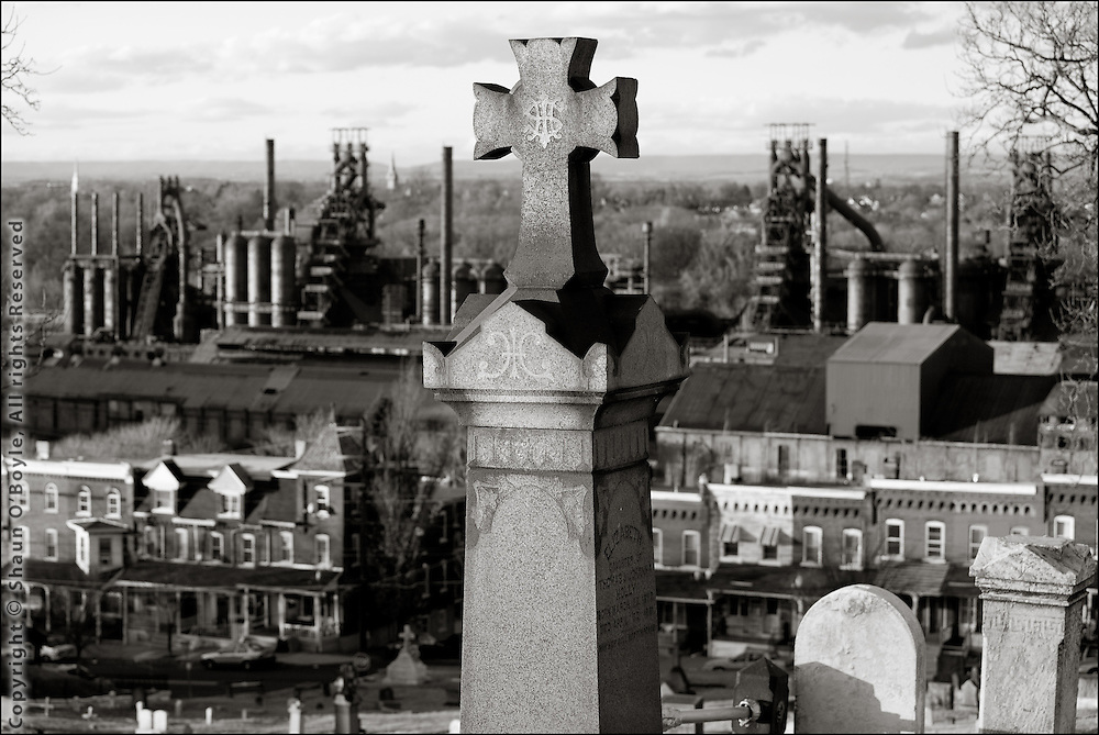 Cemetary overlooking Bethlehem Steel Mill, South Bethlehem, PA. As an aside, this is the cemetary that Walker Evans took a famous photograph of Bethlehem back in 1935 titled A Graveyard and Steel Mill in Bethlehem, Pennsylvania.