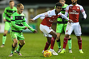 Forest Green Rovers Isaac Pearce(17) takes on Arsenal's Gedion Zelalem(60) during the EFL Trophy group stage match between Forest Green Rovers and U21 Arsenal at the New Lawn, Forest Green, United Kingdom on 7 November 2018.