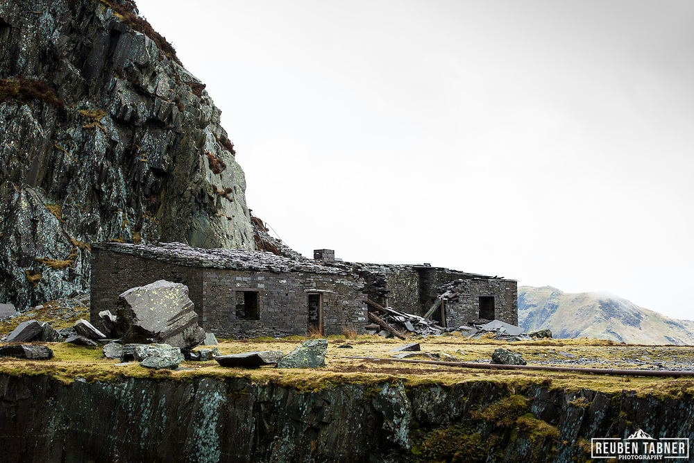 Abandoned buildings in The Dinorwic Slate Quarry which dominate the landscape at Llanberis in north Wales.