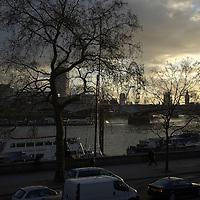 River Thames view at dusk, London
