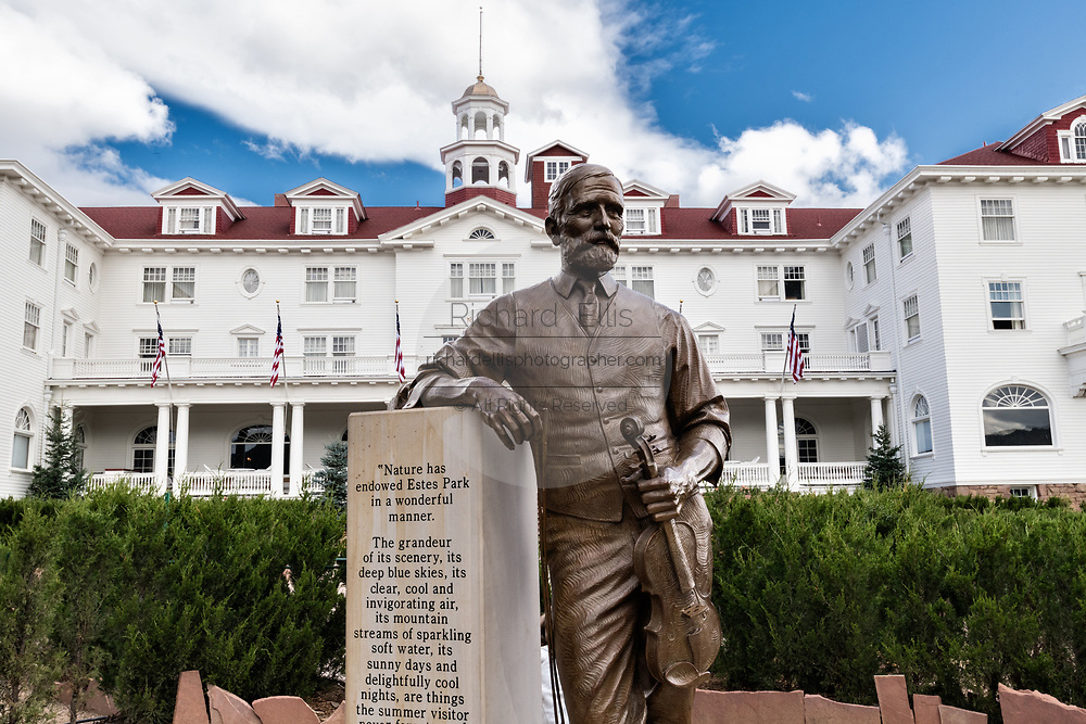 Statue of Freelan Oscar Stanley, inventor of the Stanley Steamer and the historic Stanley Hotel, a 142-room Colonial Revival hotel built in 1909, near the entrance to Rocky Mountain National Park in Estes Park, Colorado. The hotel served as the inspiration for the Overlook Hotel in the Stephen King bestselling novel The Shining.