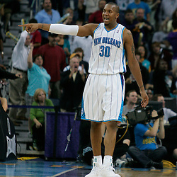 29 March 2009: New Orleans Hornets forward David West (30) reacts to a play during a 90-86 victory by the New Orleans Hornets over Southwestern Division rivals the San Antonio Spurs at the New Orleans Arena in New Orleans, Louisiana.